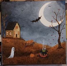Fright Night, Painted Pumpkins, Halloween Town, Hallows Eve, Cool Art, Projects, Painting, Halloween City, Log Projects