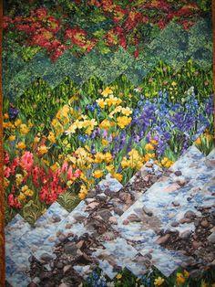 Art Quilt Mountain Stream Summer Flowers Fabric Wall Hanging