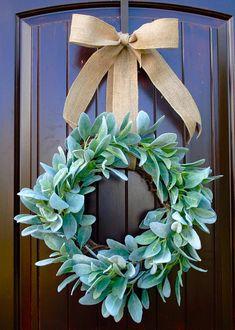 Lambs Ear Front Door Wreath~Spring Wreath~Wedding Decor~Welcome Wreath~Neutral tones~Year round wreath – Boxwood Wreath İdeas. Boxwood Wreath, Wreath Burlap, Wreath Fall, Grapevine Wreath, Winter Wreaths, Burlap Ribbon, Christmas Wreaths, Merry Christmas, Spring Front Door Wreaths