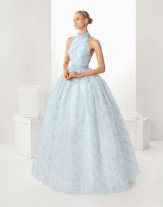 Tendenza abiti da sposa azzurri 2016 - Vestito da sposa celeste, Rosa Clarà
