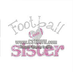 Hot Pink Sister Loves Football Iron-on Rhinestone Transfer