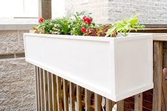 DIY hanging flower boxes from plywood, via Yellow Brick Home. If we ever move back into an apt or condo (which is a distinct possibility depending on how this fire fighter thing turns out).