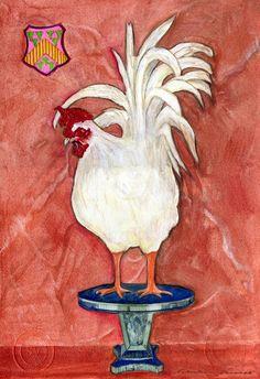 FINE ART PRINT WHITE ROOSTER 8 x10. $24.00, via Etsy.
