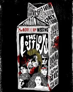QFT & Jameson Presents The Lost Boys - Peter Strain Illustration Lost Boys Movie, The Lost Boys 1987, Scary Movies, Great Movies, Horror Movies, Cult Movies, Rock And Roll, Horror Posters, Film Posters