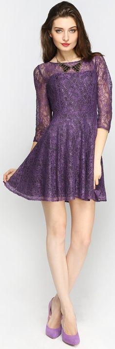 Floral Lace Skater Dress Purple