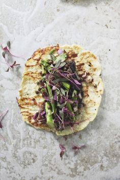 Grilled Veggie Tacos by roost: Cauliflower tacos with spring veggies. #Tacos #Veggie #Healthy