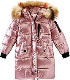 Wofupowga Girl Parkas Thick Hooded Spell Color Zipper Up Stylish Coat Jacket