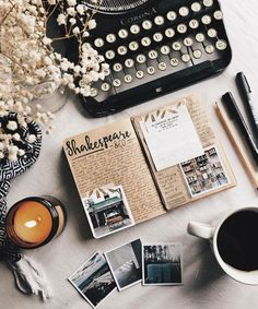 Flatlay Inspiration · via Custom Scene · Polaroid pictures with vintage notebook and typewriter. Flat Lay Photography, Book Photography, Photography Lighting, Book Aesthetic, Aesthetic Pictures, Aesthetic Vintage, Flat Lay Fotografie, Book And Coffee, Coffee Latte