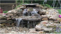 #Stone #fountain in a #backyard by DH Landscape Design