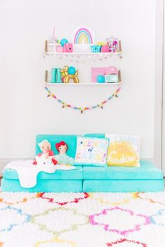 Pops of pink, teal, yellow, and gold! This whimsical and retro decorating gives this kids room a playful vibe. Playroom Shelves, Playroom Decor, Kids Decor, Playroom Ideas, Kid Playroom, Playroom Colors, Toddler Room Decor, Room Kids, Creative Kids Rooms