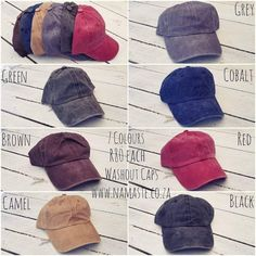 Awesome washed out caps with metal back clip R80 each. Orders cat@namaste.co.za or WhatsApp 0651144242 www.namaste.co.za #NamasteProducts R80, Bearpaw Boots, Namaste, Metal, Awesome, Shopping, Products, Fashion, Moda