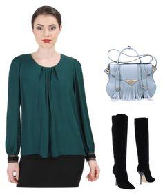 Yokko Green Veil Top by yokko-the-fashion-store on Polyvore featuring Jimmy Choo, Ella Rabener.  #yokkoromania #spring2016 #fashion #ss16 #madeinromania #officeoutfit #feminity #green #blouse