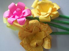 handmade flowers from special handmade papers  add to bouquet