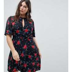 Fashion Union Plus Wrap Front Tea Dress In All Over Floral Print (2.650 RUB) ❤ liked on Polyvore featuring dresses, black, plus size, plus size wrap dress, little black party dress, night out dresses, women plus size dresses and plus size going out dresses