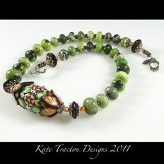 Polymer Clay Drum Bead Necklace by KateTractonDesigns on Etsy, $130.00