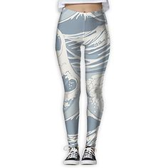 44fdb49a4d Doppyee New White Wave Printing Design Compression Leggings Pants Tights  For Women S-XL
