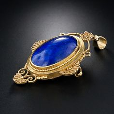 Victorian Etruscan Revival Lapis Lazuli Pendant/Locket/Pin // LOVE. IT.