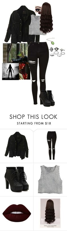 """""""~Soaring through paradise when I'm closing my eyes~"""" by harley-quinn-4 ❤ liked on Polyvore featuring Topshop, H&M, Lime Crime, WigYouUp and Charlotte Russe"""