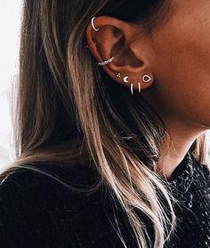 No Piercing Two Rows Cartilage Ear Cuff Double Rings/piercing imitation/plain simple earring/faux fake ohr piercing/false conch ear piercing - Custom Jewelry Ideas Pretty Ear Piercings, Ear Peircings, Cartilage Piercings, Tongue Piercings, Circle Earrings, Crystal Earrings, Stud Earrings, Cartilage Earrings, Ear Plugs