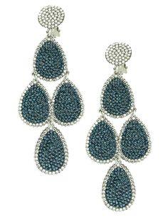 Jennifer Miller Jewelry White Gold Plated Swarovski Crystal Multi Teardrop Clip Earrings Style Fashion