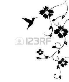 hummingbird: floral card with hummingbird