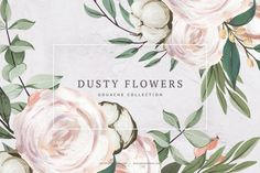 ad: Floral Clipart Gouache Dusty Flowers by Spasibenko Art on Watercolor Feather, Watercolor Background, Watercolor Flowers, Watercolor Illustration, Graphic Illustration, Illustrations, Burgundy Bouquet, Watercolor Succulents, Romantic Flowers