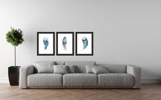 3 PACK Blue Feather Art Tribal Feather Print Feather Art