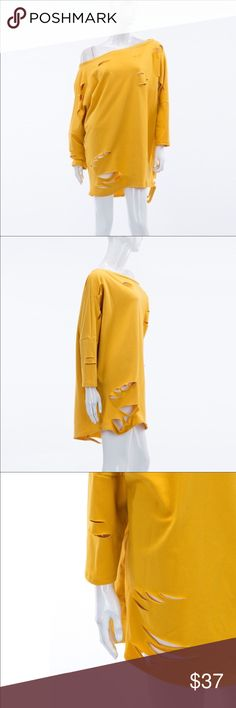 Stylish Destroyed Tshirt Dress in Mustard. Stylish destroyed tshirt dress in Mustard. 87% Polyester, 10% rayon, 3% spandex. The Blossom Apparel Dresses Mini