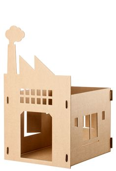 """Meer foto's van dit"" model/ Old Factory cat cardboard house design. #cat #cardboard"