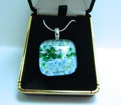 Water Lily Jewelry Flower Jewelry-Glass Pendant Art Jewelry Necklace Pendant Original Painting Signed Glass Silver Woman Wedding Gift Box by CynthiaVHEhrlich on Etsy