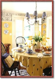 terrific blue yellow kitchen decor | blue and gold country dining room | French Country ...