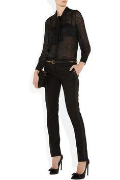 eb5057733f9142 Saint Laurent - Devoré chiffon pussy-bow blouse. Bow Tie ...