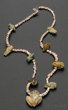 Pre-Columbian Coral and Emerald Necklace, Colombia, Sinu, 300-1550 A.D.
