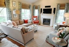 Neutral Kid Friendly Family Room and Bright Kitchen