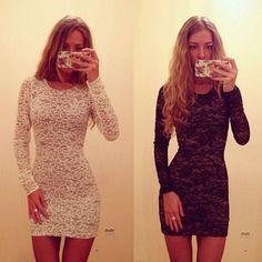 Sexy Fashion Women's Round Neck Long Sleeve Chiffon Lace Bodycon Mini Dress