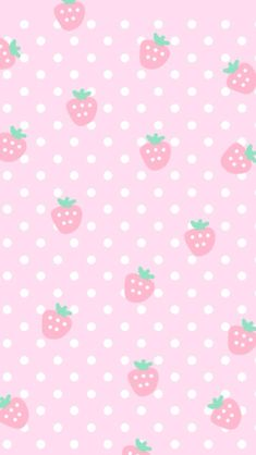 Pink cute strawberries cocoppa iPhone wallpaper
