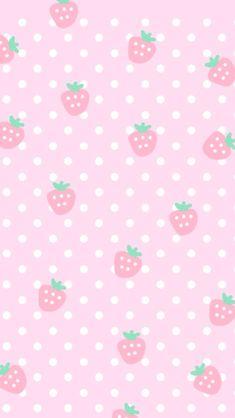 Pink cute strawberries cocoppa iPhone wallpaper