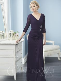 Christina Wu Elegance 20232 Stylized with multiple gatherings of vivid stretch net fabric for a layered, texture effect, this gown has sleeves, pleated bodi Mother Of The Bride Dresses Long, Mothers Dresses, Mother Of The Groom Suits, Christina Wu, Figure Flattering Dresses, Types Of Dresses, Mob Dresses, Fashion Dresses, Chiffon Dresses