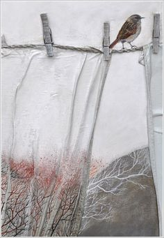 Elfi Cella: uses fabrics, artifacts on her canvases- way cool! #Art #Artwork: