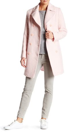 Fleurette Notched Collar Double Breasted Coat