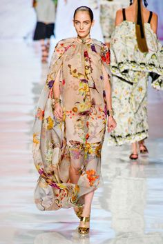 Etro Spring 2013/ Milan    One of the prettiest prints was a blown-up butterfly floral which Etro used on lightweight, voluminous gowns.    Read more: Milan Fashion Week Spring 2013 Runway Looks -   Best Spring 2013 Runway Fashion - Harper's BAZAAR