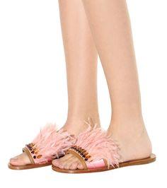 Pink embellished leather slip-on sandals