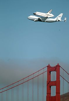 Endeavour's final flight  The space shuttle Endeavour flies over the Golden Gate Bridge in San Francisco, Calif. on Friday, Sept. 21, 2012. The shuttle is on its way to southern California, where it will be displayed in a museum, ending 30 years of the space shuttle program. (Jane Tyska/Staff)
