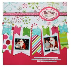 2 photo   double row of banners  Scrapbook layout