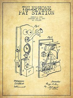Telephone Drawing - Public Telephone Patent Drawing From 1907 - Vintage by Aged Pixel