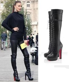 Can you fall in love with a pair of shoes? Wold it be cheating if I have two paris that I love? I love me some Christian louboutin shoes Louboutin High Heels, Red High Heels, Leather High Heels, Leather Boots, High Boots, Leather Leggings, Fashion Week Paris, Fashion Weeks, Dress Up Jeans