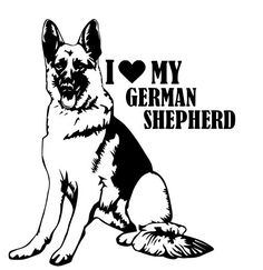 I Love My German Shepherd Bumper Sticker Width: 5 inLength: inMaterial Type: VinylColor: Black or Reflective White Shipping Information Funny Stickers, Bumper Stickers, Dog Silhouette, German Shepherd Puppies, German Shepherds, Dog Logo, Dog Names, Dogs And Puppies, Coloring Pages