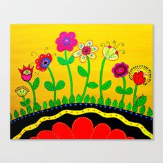 Mexican Folk Art Whimsical Flowers  Painting Stretched Canvas by Prisarts - $85.00