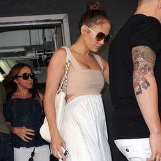 Jennifer Lopez Wears a Nude and White Maxi For Her Birthday Lunch