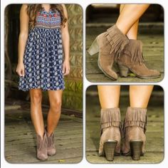 """Fringe Ankle Booties Get your Cowboy booties with the fringe wooden heel ankle booties!features an almond toe/vegan suede upper/split cut front design/faux wooden heel/stitching details and a double layered fringe trimmed shaft/heel height: 3"""" approx/new with box/price is firm/thanks for looking                                                               ❌No Trades❌                                                ❌No PayPal❌ Shoes Ankle Boots & Booties"""
